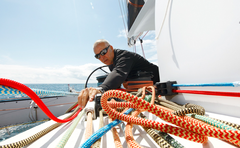 Frederic Aujendre a la maneuvre sur le trimaran Sodebo with the skipper Thomas coville in Preparation for La Route du Rhum La Banque Postale 2010.