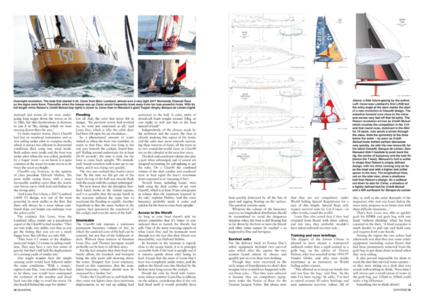 Seahorse magazine double page on Class 40 and the sinking of the sailboat Crosscall Chamonix Mon Blanc (ex-Carac)