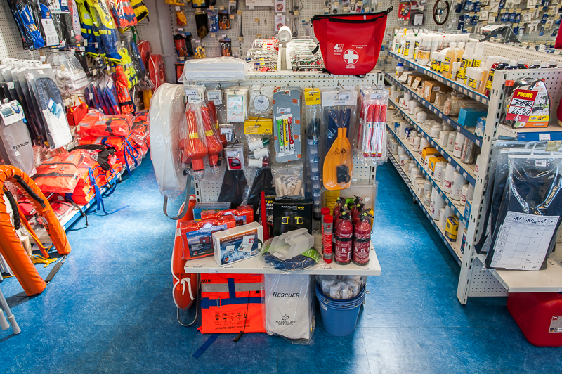Photo security equipment for sale on the shelves of a shipchandler