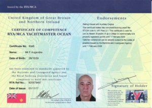 Certificat Yachtmaster Ocean de Frédéric Augendre